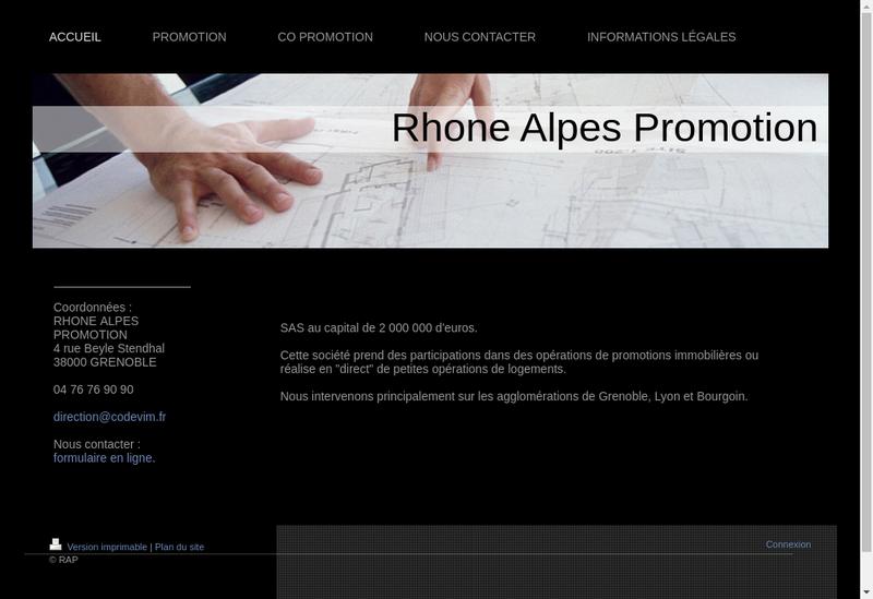 Capture d'écran du site de Rhone Alpes Promotion RAP