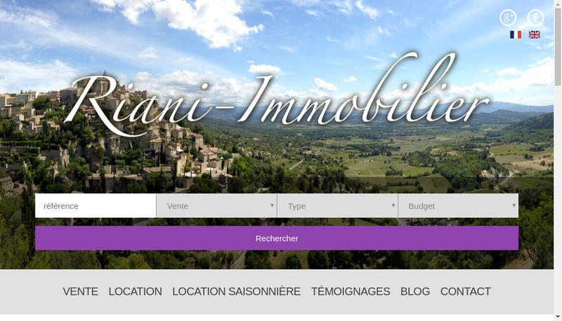 Capture d'écran du site de Riani Immobilier