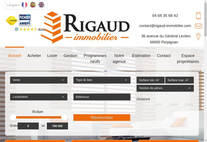 Capture d'écran du site de Rigaud Immobilier