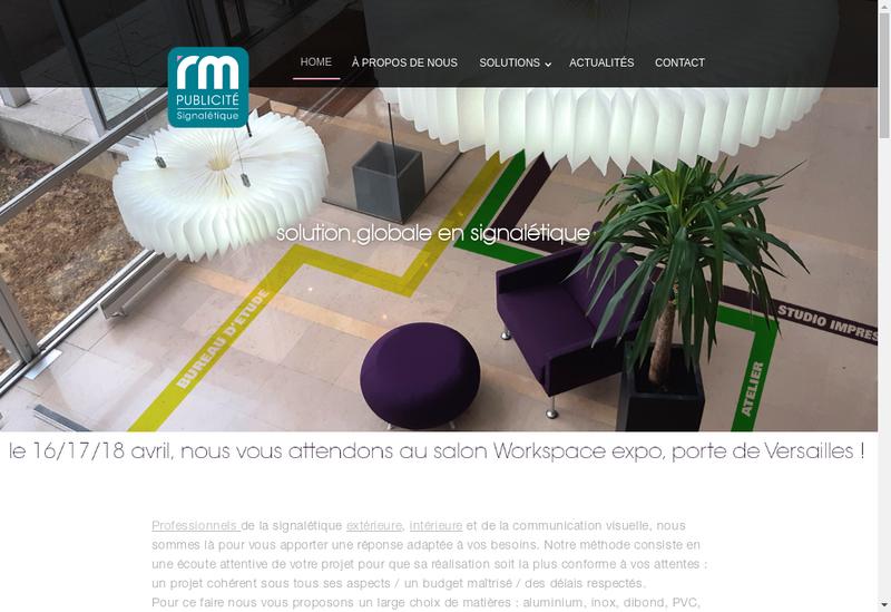 Capture d'écran du site de Rm Publicite