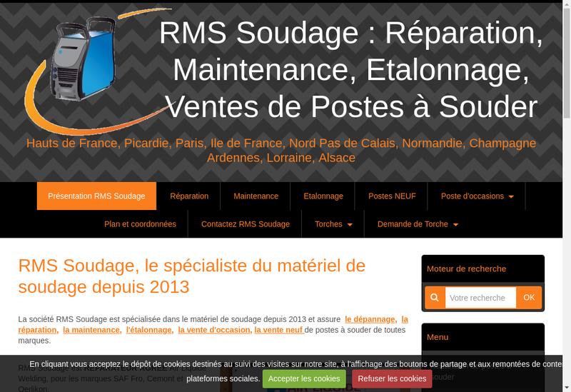 Capture d'écran du site de RMS Soudage