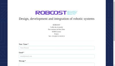 Capture d'écran du site de Roboost