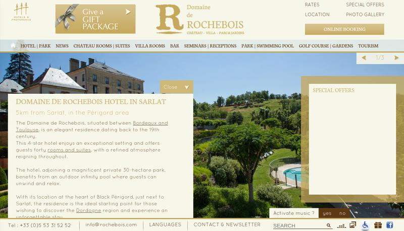 Capture d'écran du site de Domaine de Rochebois