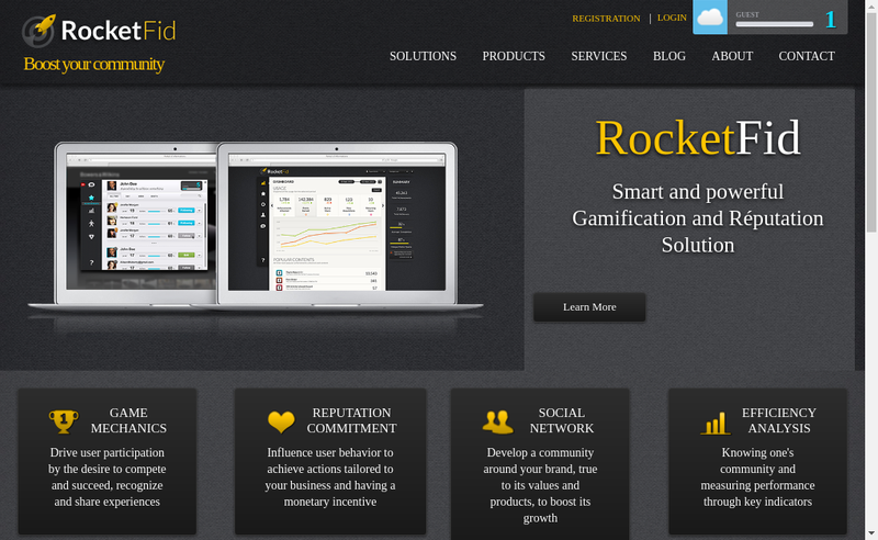Capture d'écran du site de Rocketfid