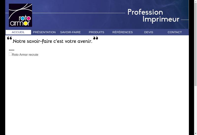 Capture d'écran du site de Roto Armor