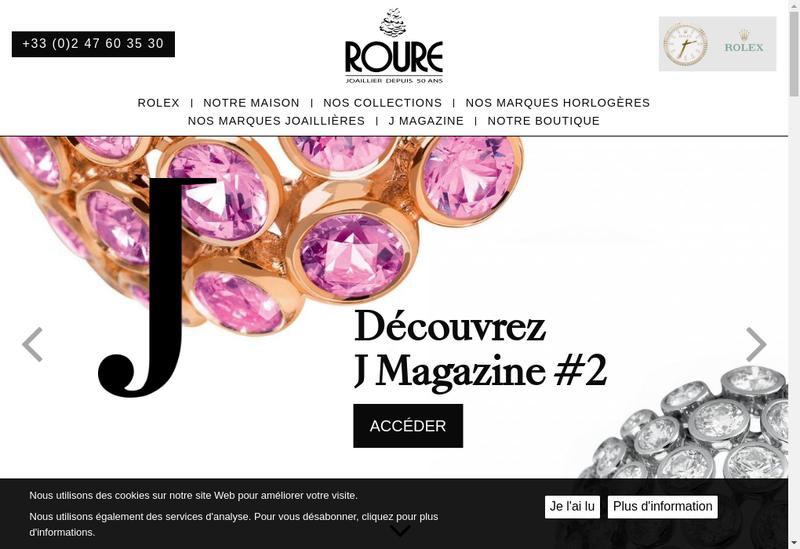 Capture d'écran du site de Roure Joaillier