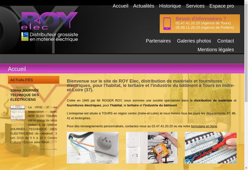 Capture d'écran du site de Roy SA et Roy Elec