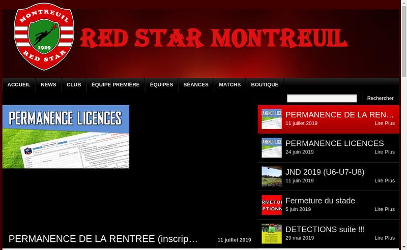Capture d'écran du site de Red Star Club Montreuillois