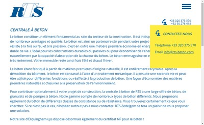 Site internet de RTS -Beton SARL