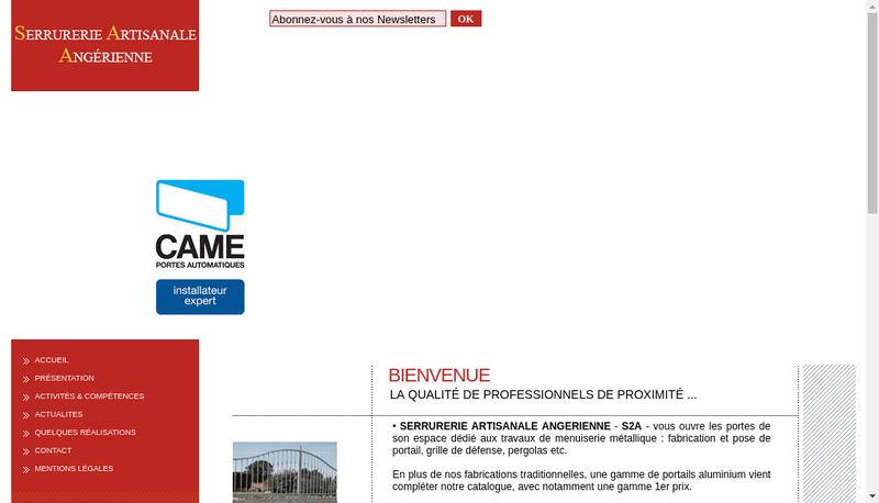 Capture d'écran du site de Serrurerie Artisanale Angerienne