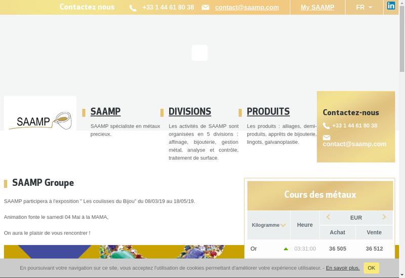 Capture d'écran du site de Saamp G