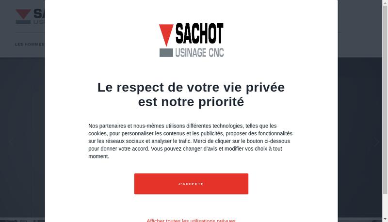 Capture d'écran du site de Sachot - Usinage CNC