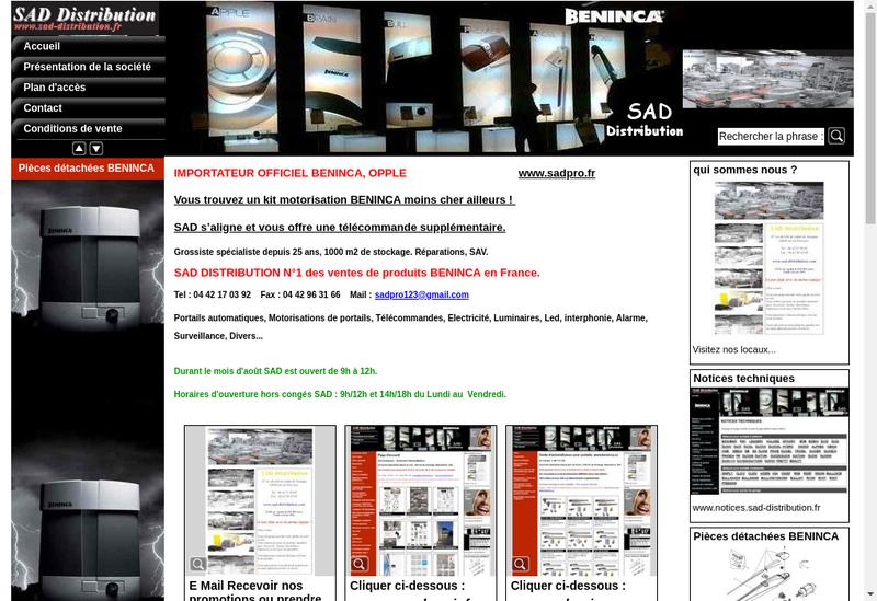Capture d'écran du site de Beninca
