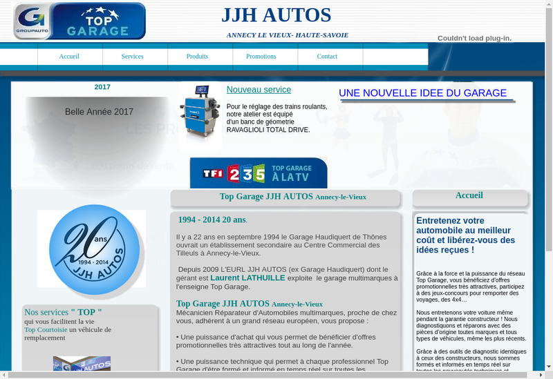 Capture d'écran du site de JJH Autos