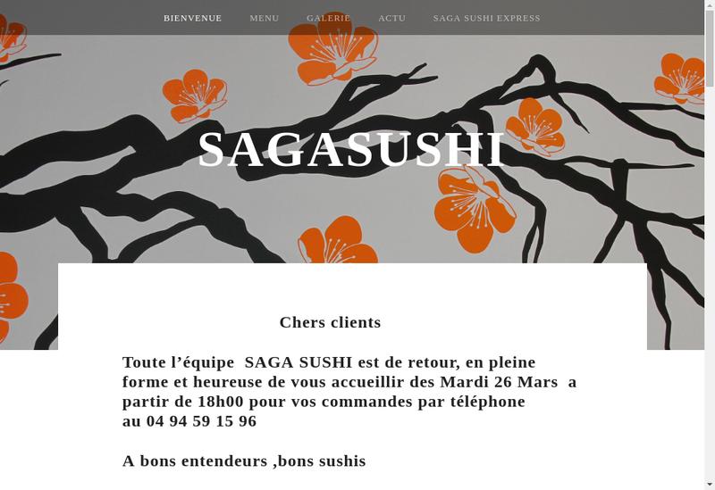 Capture d'écran du site de Saga Sushi