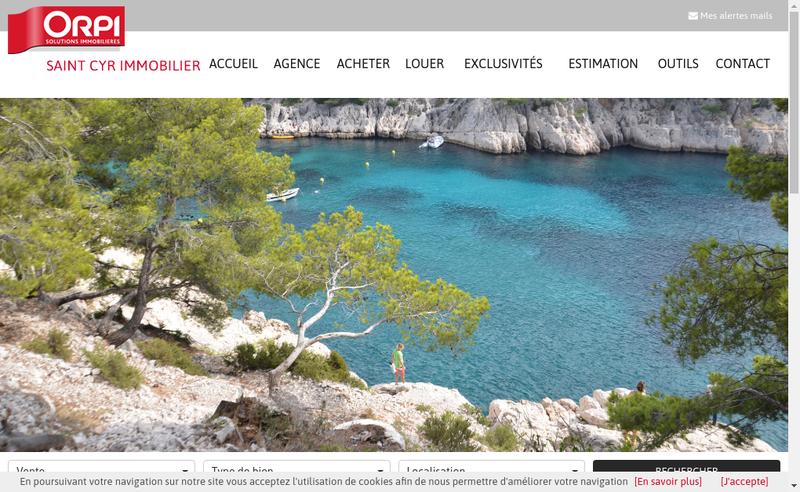 Capture d'écran du site de Saint Cyr Immobilier