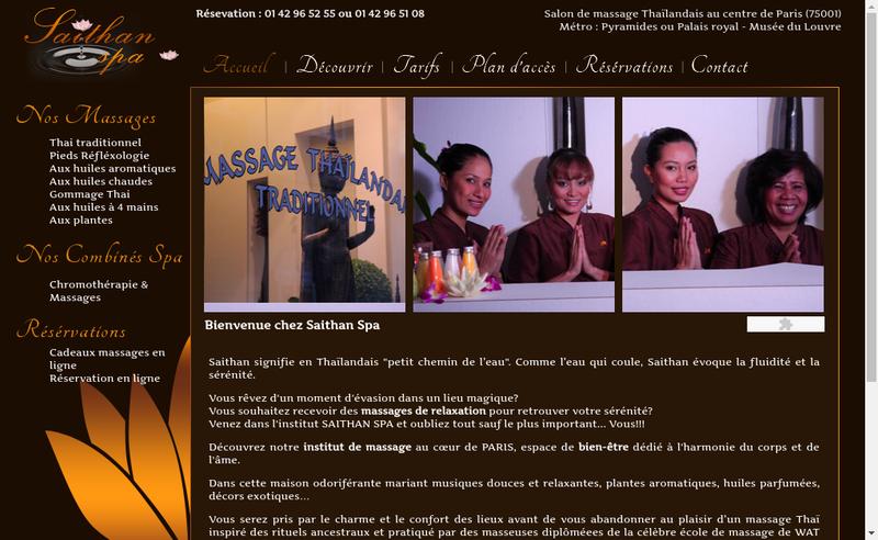 Capture d'écran du site de Saithan Spa