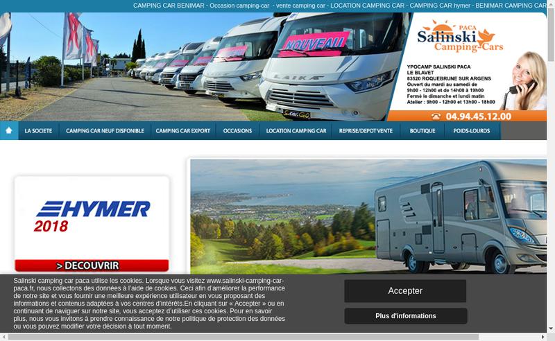 Capture d'écran du site de Salinski Paca Camping Cars