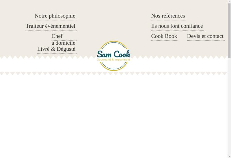 Capture d'écran du site de Sam Cook