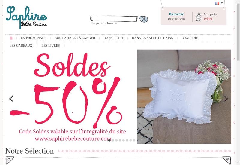 Capture d'écran du site de Saphire Bebe Couture