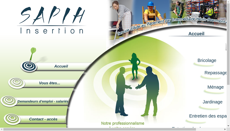 Capture d'écran du site de Sapih Insertion
