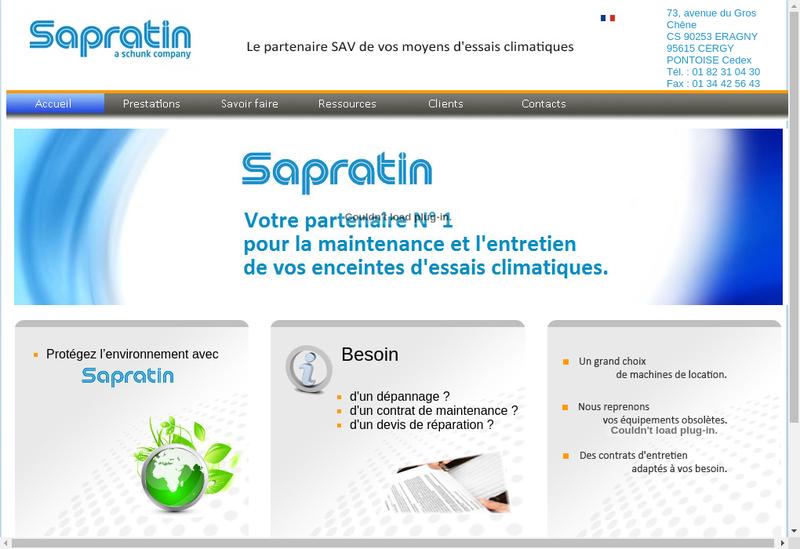 Capture d'écran du site de Sapratin Technologies