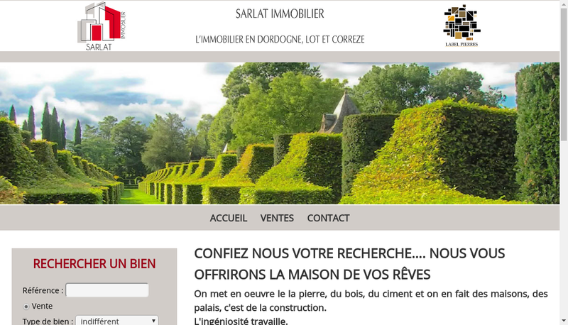 Capture d'écran du site de Sarlat Immobilier