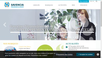 Site internet de Savencia Fromage & Dairy