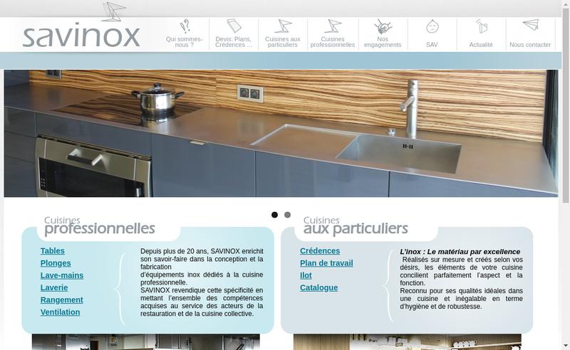 Capture d'écran du site de Savinox