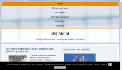 Capture d'écran du site de Sb Metal