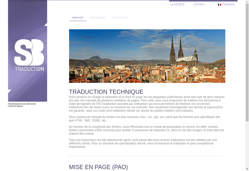 Capture d'écran du site de SARL Sb Traduction