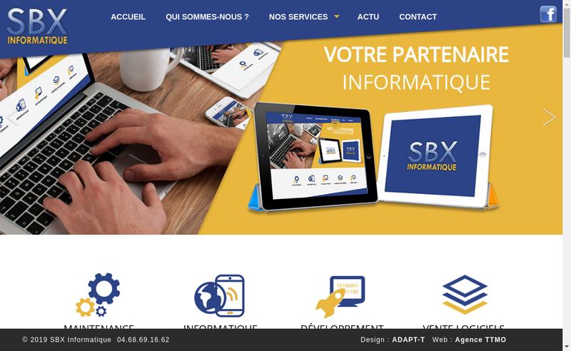 Capture d'écran du site de Sbx Informatique