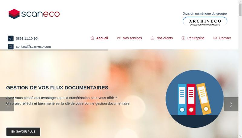 Capture d'écran du site de Scan Eco