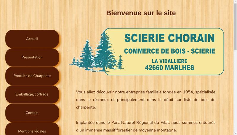 Capture d'écran du site de Scierie Chorain