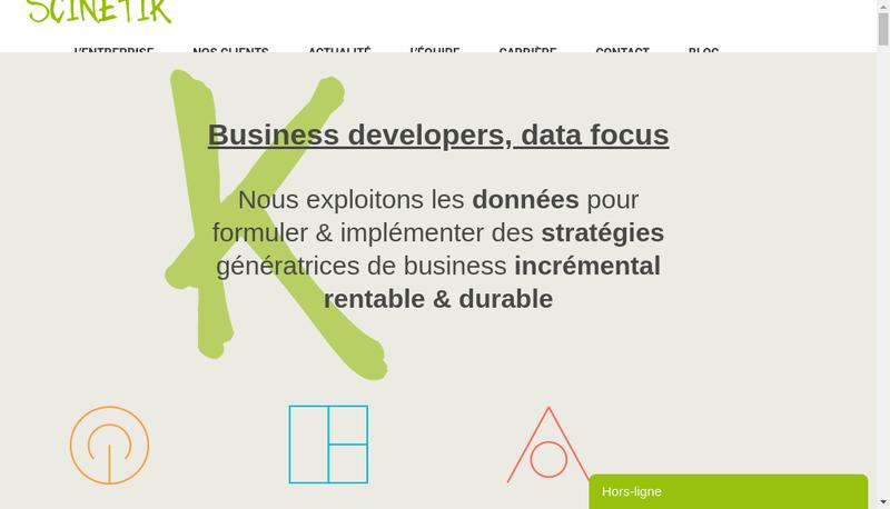 Capture d'écran du site de Scinetik