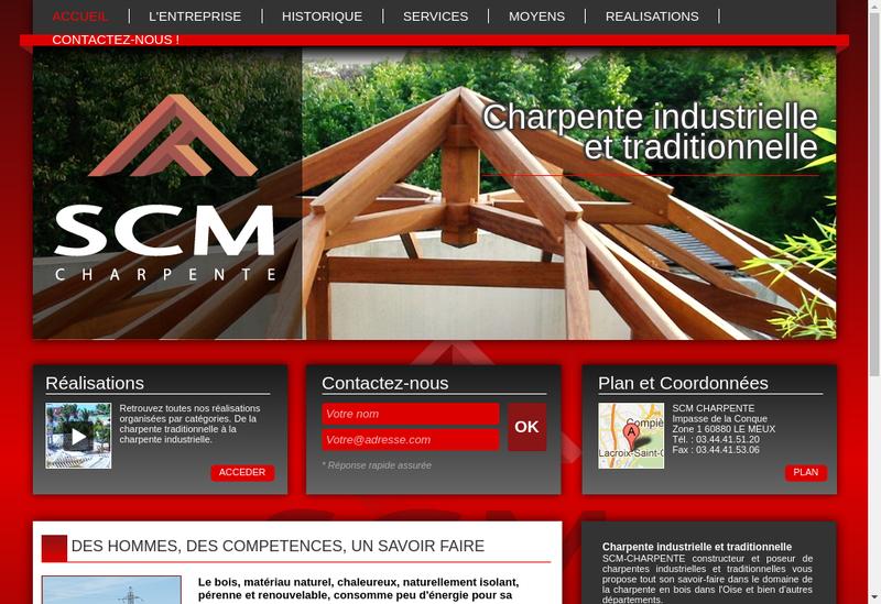 Capture d'écran du site de Societe Charpente Menuiserie