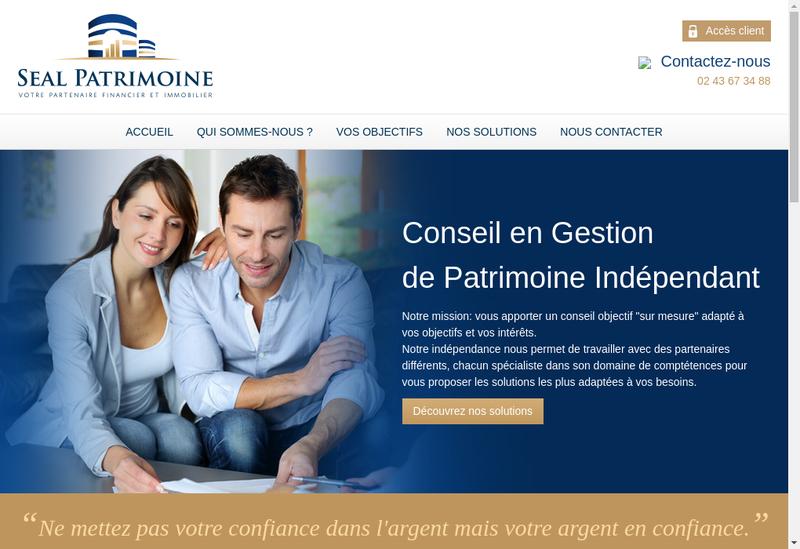 Capture d'écran du site de Seal Patrimoine