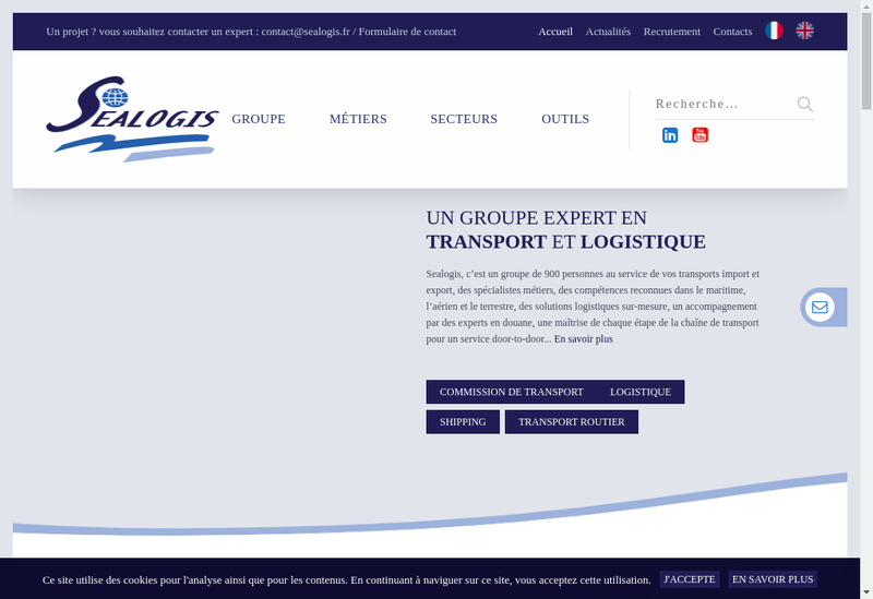 Capture d'écran du site de Amarsud,Setps, Tcc Logistics, Seatruck,Ame (Agence