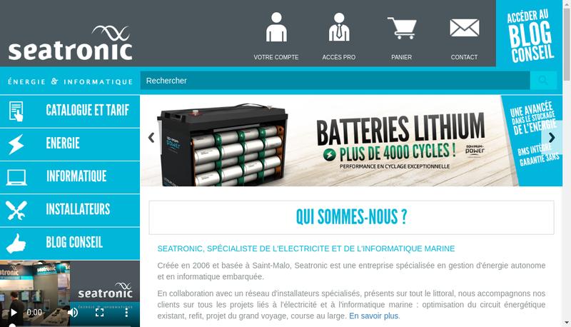 Capture d'écran du site de Seatronic