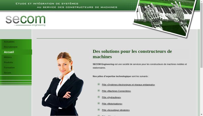 Capture d'écran du site de Secom Engineering