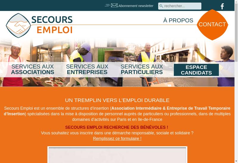 Capture d'écran du site de Secours Emploi Interim