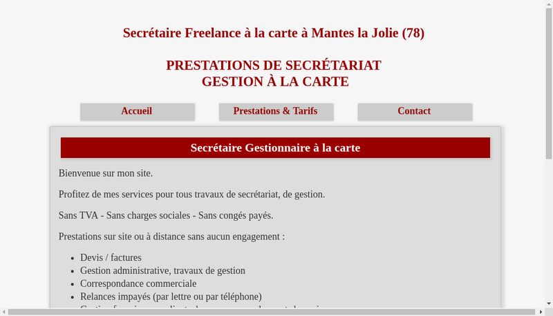 Capture d'écran du site de Regine Allou