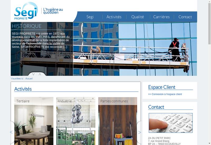 Capture d'écran du site de SEGI