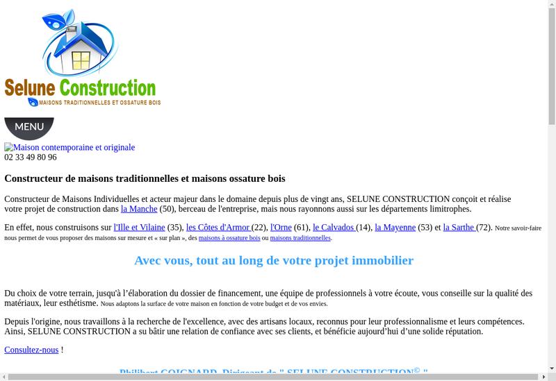 Capture d'écran du site de Selune Construction