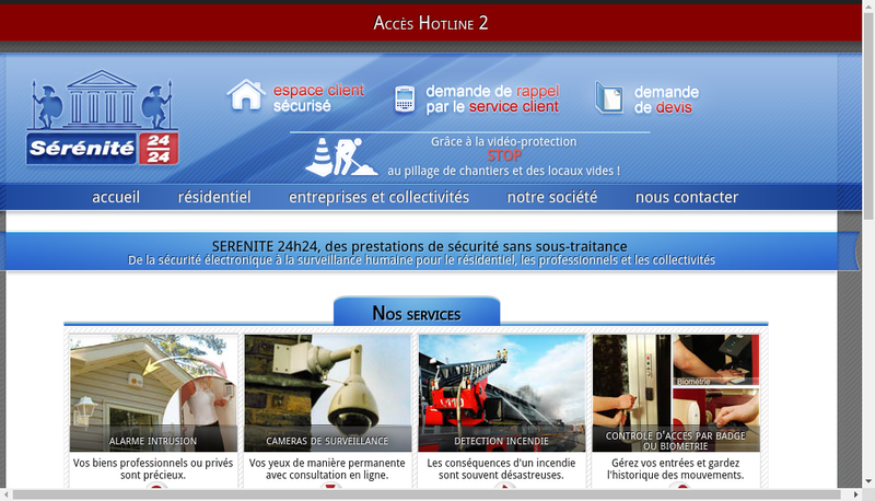 Capture d'écran du site de Serenite 24H24