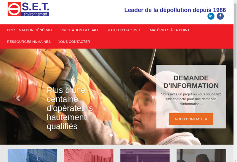 Capture d'écran du site de Set Environnement