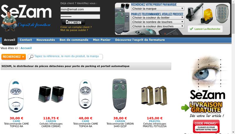 Capture d'écran du site de Sezam
