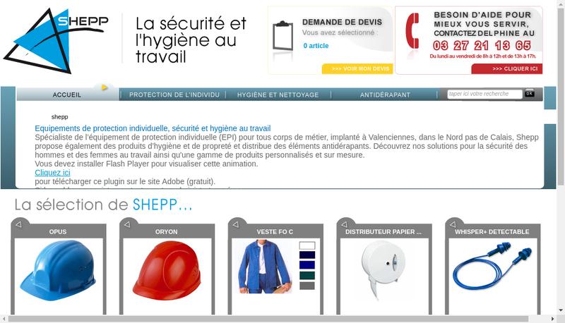 Capture d'écran du site de Shepp