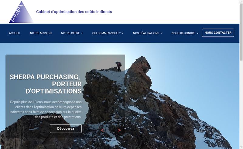 Capture d'écran du site de Sherpa Purchasing