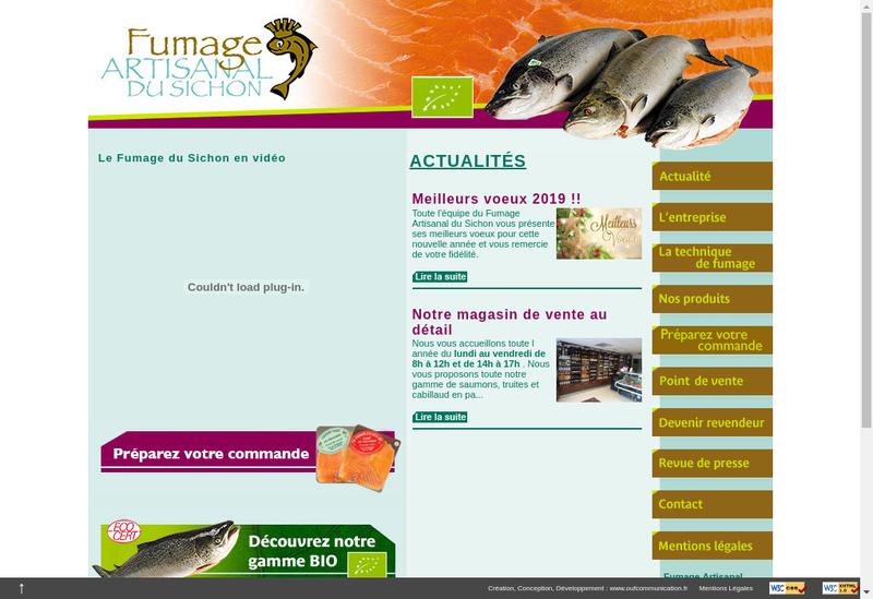 Capture d'écran du site de Fumage Artisanal du Sichon